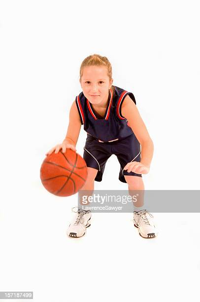 12-year old girl plays basketball