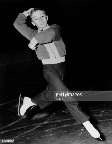 12yearold Alain Giletti of France performs his program during the men's free figure skating competition at the Winter Olympic Games 21 February 1952...
