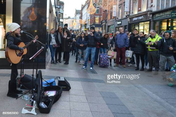 12yearold Allie Sherlock from Cork wows shoppers on Dublin's Grafton Street during the Christmas Season with a busking performances that make...