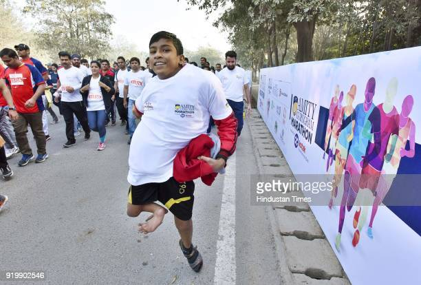 A 12 years old Haider Ali from Kolkata participating during an annual Amity Gurgaon Marathon that started and culminated at Leisure valley ground on...