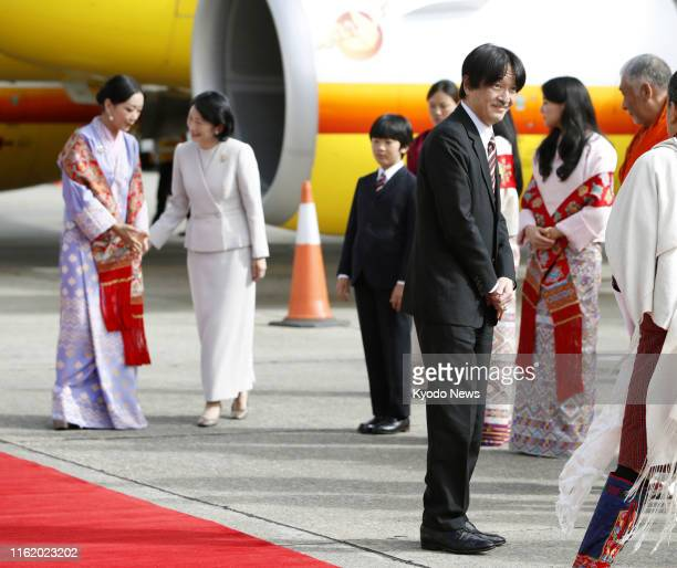 12yearold Japanese Prince Hisahito arrives at Paro airport in Bhutan on Aug 17 with his mother Crown Princess Kiko for a private family trip Crown...