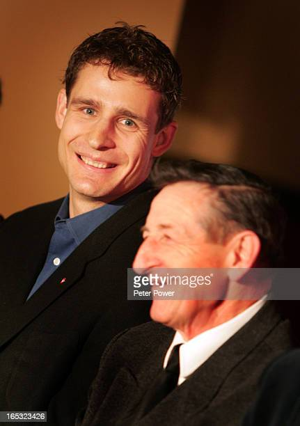 Jiri Fischer and Walter Gretzky during the press conference Images from the Haert and Stroke Foundation's media event at the Wayne Gretzky Community...