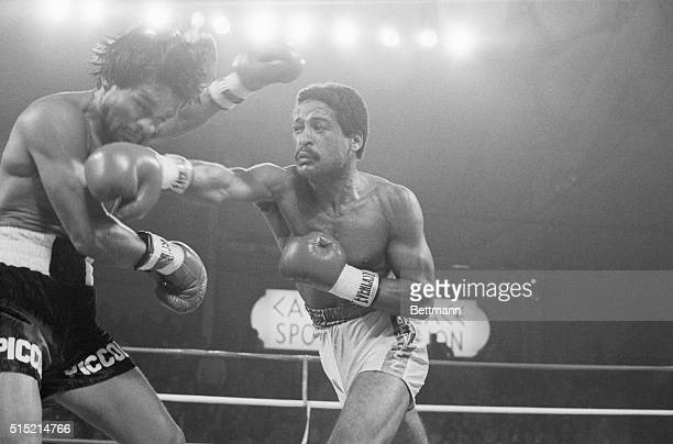 1/30/82Las Vegas Nevada WBC Welterweight Champ Wilfred Benitez of Puerto Rico drives a hard right to the jaw of Roberto Duran of Panama as he...
