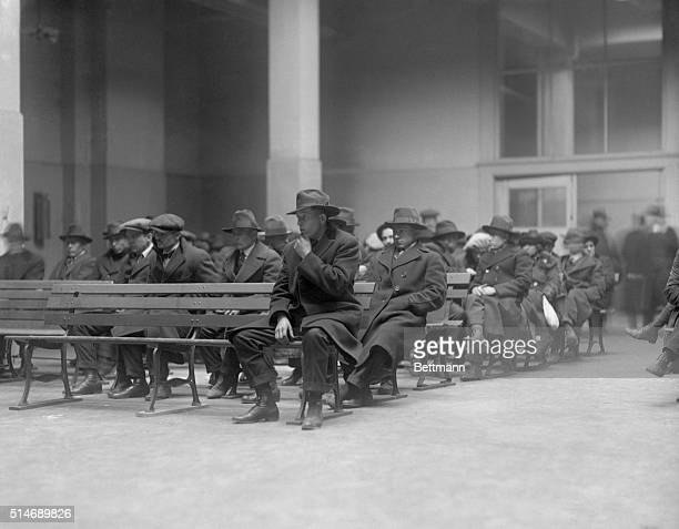 New York, NY: Photo shows anarchists, reds, and radicals who were rounded up in NYC in last nights raids, arriving at Ellis Island. These...