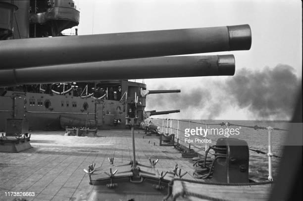 Inch Mk V naval guns of HMS Iron Duke an Iron Duke-class Dreadnought battleship of the Royal Navy during gunnery training on 1st August 1939 near...
