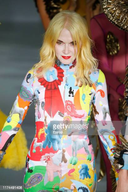Fashion designer Pam Hogg walks the runway at the Pam Hogg show during London Fashion Week September 2019 at Victoria House on September 13 2019 in...