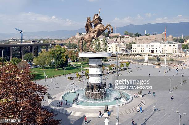 "Meter-high bronze statue of Alexander the Great, officially named ""Warrior on a Horse,"" onto its 10-meter high pedestal is pictured in Central Square..."