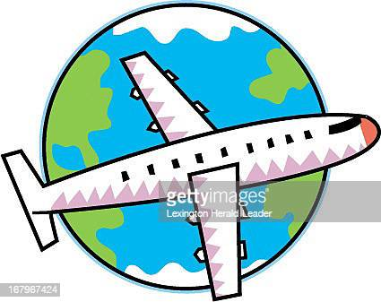 13p x 10p Chris Ware color illustration of an airplane with a globe in the background. For use with stories on travel.