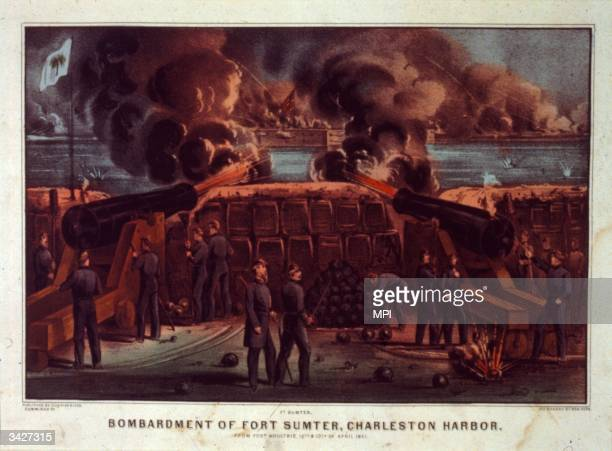 The Bombardment of Fort Sumter at Charleston Harbour South Carolina The Confederate attack on the fort marked the beginning of the Civil War Printed...