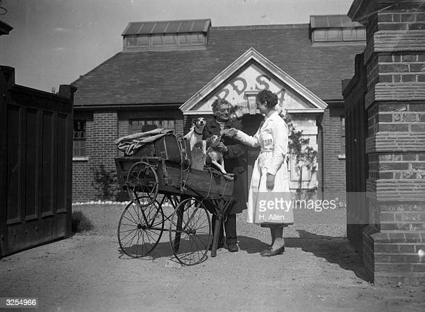 Mr Stevens talking to a worker at the People's Dispensary for Sick Animals' Sanatorium, at Saint Swithin's Farm, Ilford, with his two pet dogs.