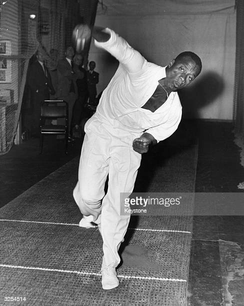 West Indian bowler Wesley Hall at the MCC on Mile End Road London