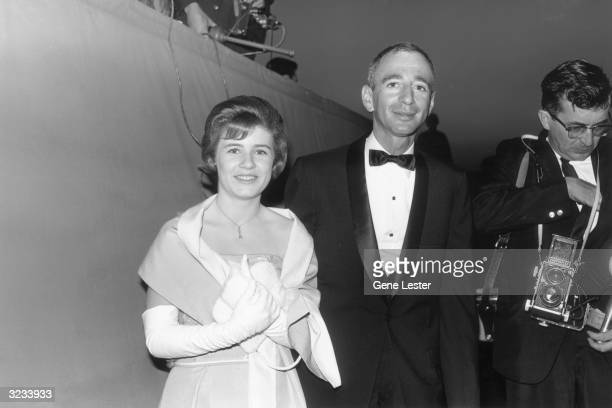 EXCLUSIVE American actor Patty Duke smiles with her date Marty De Bow as they attend the Academy Awards Santa Monica California Duke was a presenter...