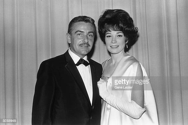 EXCLUSIVE American actor Shirley MacLaine poses with her husband producer Steve Parker backstage at the Academy Awards Santa Monica California...
