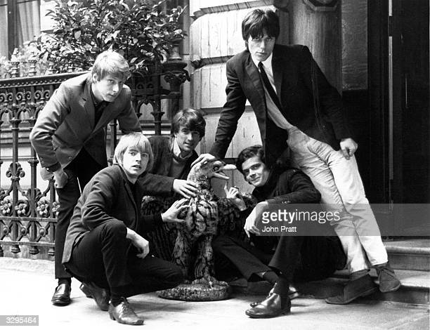 British rhythm and blues group The Yardbirds from left to right Chris Dreja Keith Relf Jim McCarty Paul or 'Sam' SamwellSmith and Jeff Beck pose with...