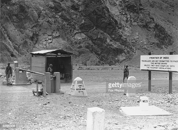 Border guards on patrol at the border between India and Afghanistan at the Khyber Pass