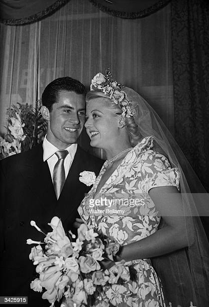 British actress Angela Lansbury and her husband Peter Shaw at their wedding