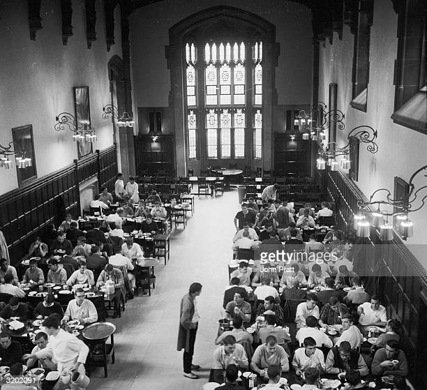 First and second year students dine on campus at the American Ivy League College, Princeton, New Jersey.