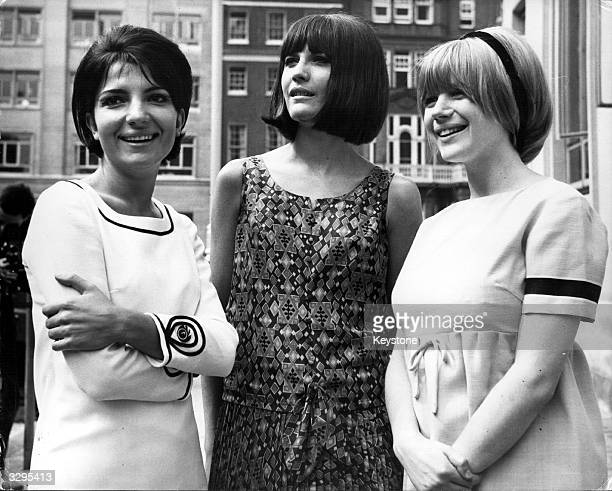 From left to right Dana Valery Sandie Shaw and Marianne Faithfull at a press reception they are three of the seven British female pop singers to...