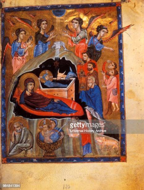 13th century Armenian Evangelical manuscript The visit of the three shepherds to the birth of Christ