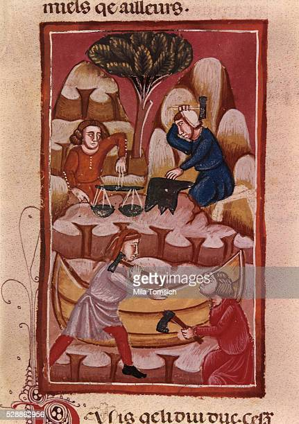13th Century French Manuscript Page Depicting Trade and Industry