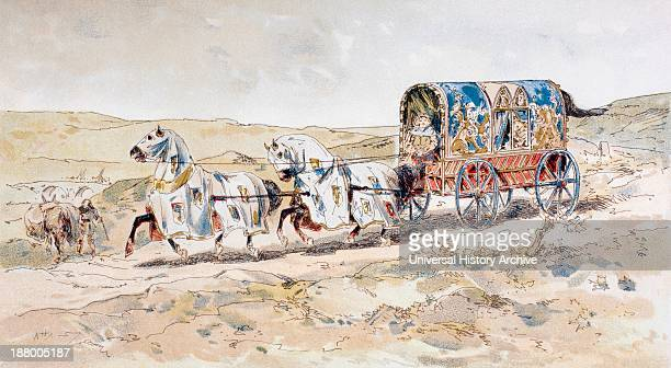 13Th Century Horse Drawn Ladies Carriage After A Watercolour By A Heins From Cortege Historique Des Moyens De Transport Published Brussels 1886