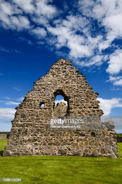 13th century st mary chapel fieldstone ruins at rattray aberdeenshire scotland uk with green grass at church grounds - rattray head stock pictures, royalty-free photos & images