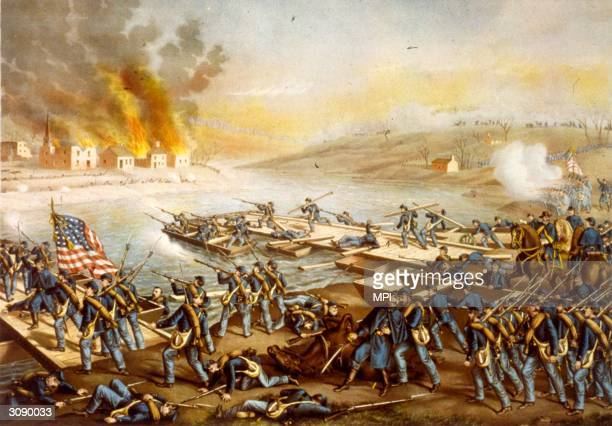 Union troops attempting to cross the Rappahannock river during the battle of Fredericksburg Virginia