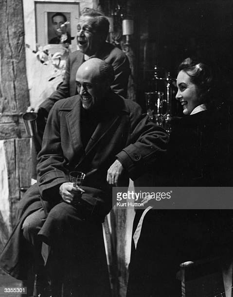 British actors Edward Rigby Alastair Sim and Patricia Roc rehearse a scene from 'Let The People Sing' Original Publication Picture Post 929 Let The...