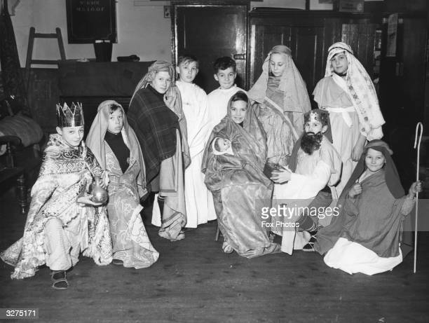 A group of Kent children dressed for their performance in 'The Child of Bethlehem'