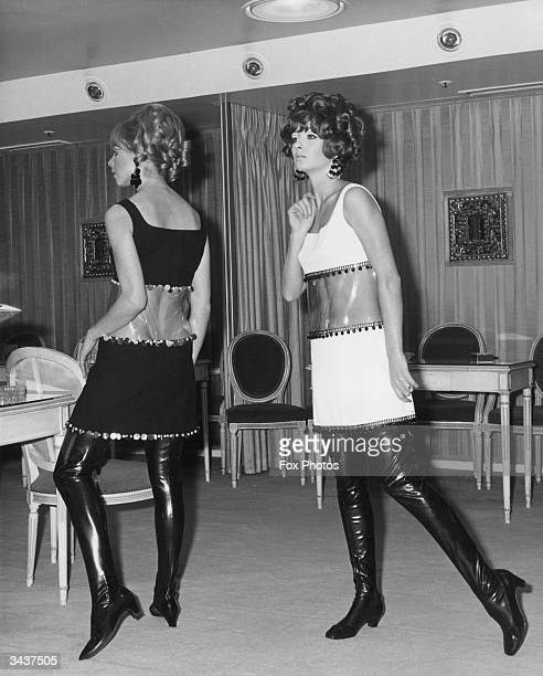 From l to r Irma Karlson and Gail Miller model black and white miniwindow dresses in crepe and PVC and wear thighlength boots The dresses are...