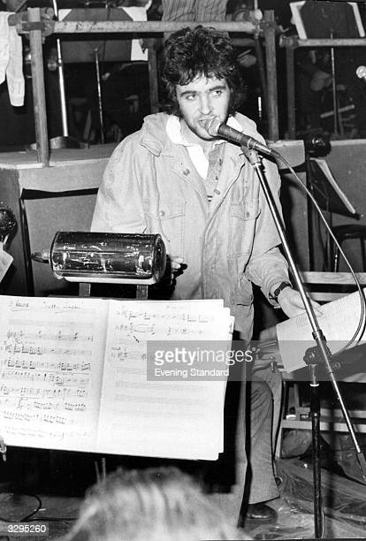 British pop singer and actor David Essex rehearses his role as narrator in Pete Townshend's rock musical 'Tommy'
