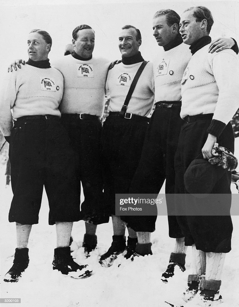 The English bobsleigh team at Garmisch-Partenkirchen where they are competing in the Winter Olympics.