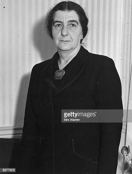 Russianborn Israeli Zionist politician Golda Meir at the Israel Embassy in London where she met the press in her capacity as minister of labour and...