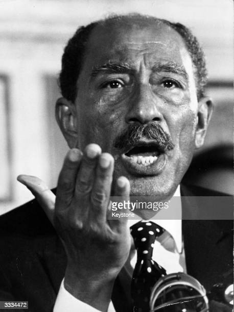 Anwar Sadat President of Egypt at a press conference