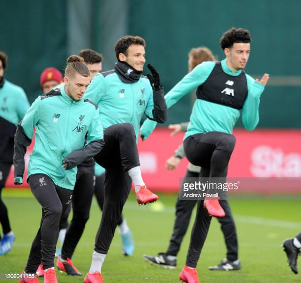 13th Harvey Elliott and Curtis Jones with at Melwood Training Ground on February 13, 2020 in Liverpool, England.