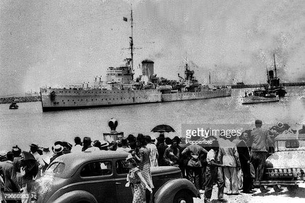 13th January 1940 World War II view of Leanderclass light cruiser HMNZS Achilles seen arriving at Buenos Aires Argentina after playing a major part...