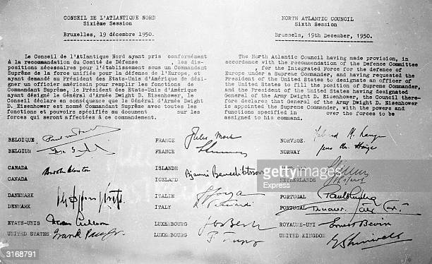 The North Atlantic Council document signed by all the members appointing Eisenhower as the NATO Supreme Commander.