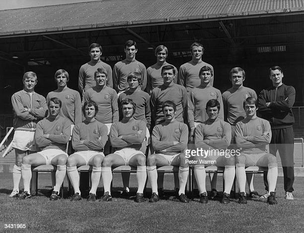 Ipswich Town Football Club back row Colin Viljoen Mike Lambert Mick Mills and Tommy Carol Middle row Cyril Lea Colin Harper Derek Jefferson Laurie...