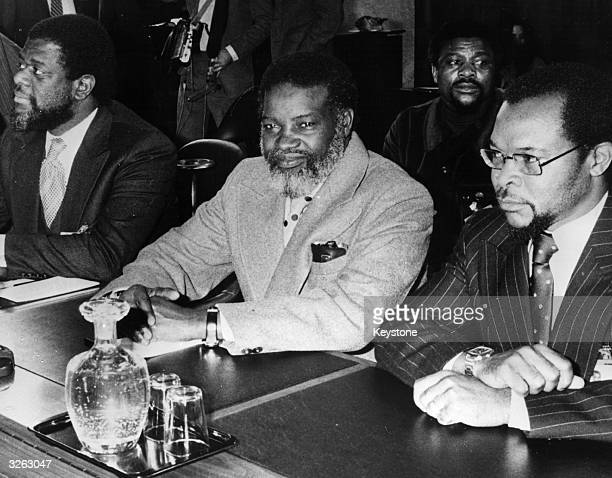 The delegation of South West Africa Peoples Organisation with its President Sam Daniel Nujoma centre Hidiro Hamutenaya right and TheoBen Gurirab at...