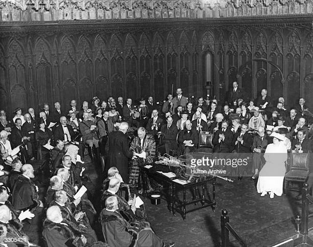 The presentation of an honour to Arthur James Balfour British statesman