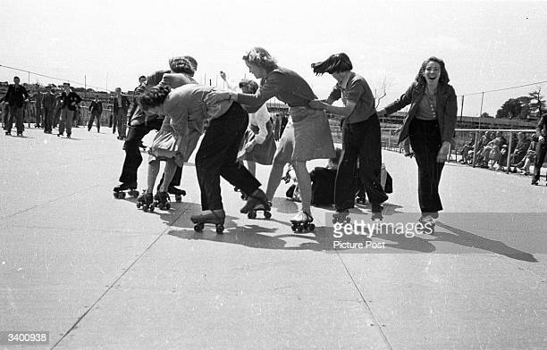 A group of holidaymakers in the Butlin's Camp at the North Yorkshire seaside resort of Filey learning to rollerskate Original Publication Picture...