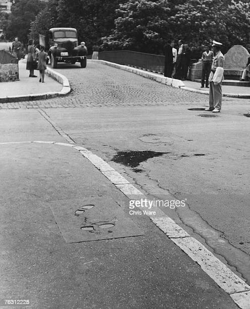 The footprints of Gavrilo Princip in Sarajevo marking the spot from which he fired the bullets which killed Archduke Franz Ferdinand of Austria and...