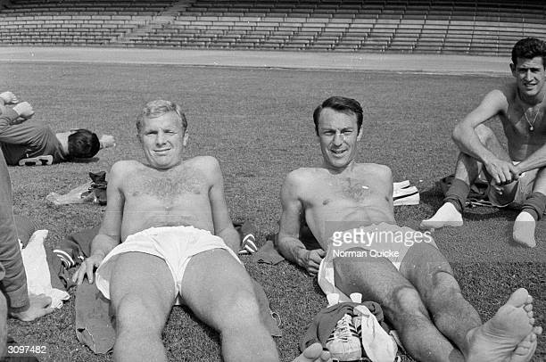 Bobby Moore sunbathing with Jimmy Greaves during the England team's preWorld Cup tour