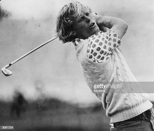 John Miller in action at the British Open Golf Championship held at Troon He won the British Open in 1976