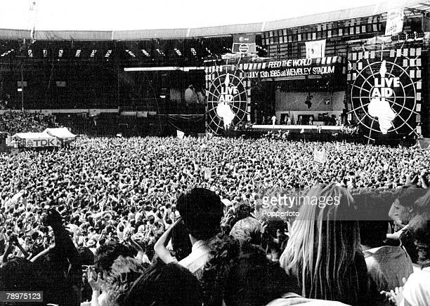 13th July 1985 Wembley Stadium London A sea of fans at the Liveaid transatlantic pop spectacular to aid starving Africans The concert was viewed in...
