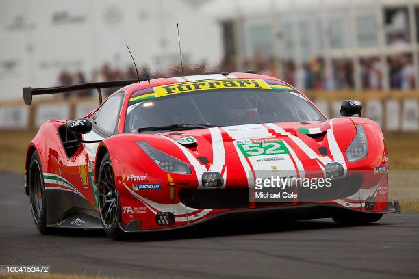 2018 Ferrari 488 GTE entered by Ferrari North Europe Ltd and driven by James Calado at Goodwood on July 13th 2018 in Chichester England