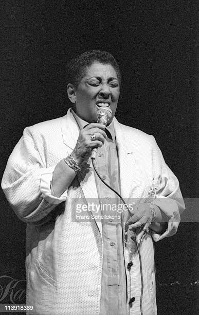 13th JULY: singer Carmen McRae performs at the North Sea Jazz festival in the Congresgebouw, the Hague, Netherlands on 13th July 1986.