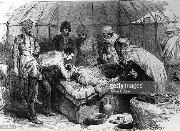 A patient undergoing an operation under sedation with chloroform in the Murghab Valley Afghanistan
