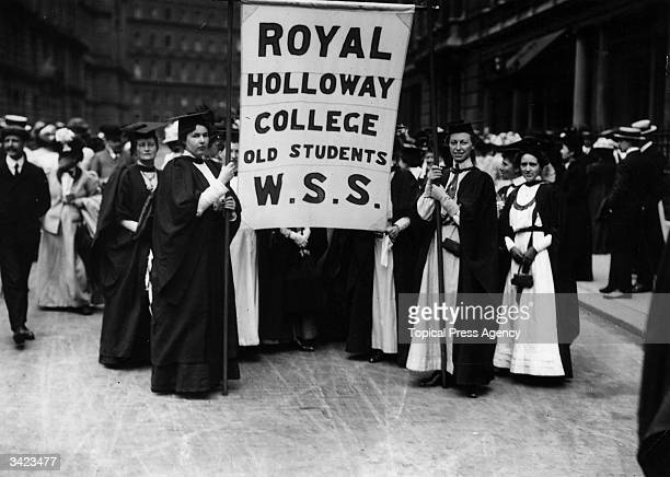 Suffragettes who are students at Royal Holloway College march to the Albert Hall for a protest meeting