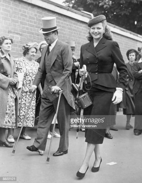 Racehorse owner Prince Aly Khan and US dancer and actress Rita Hayworth at Ascot